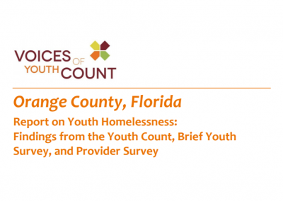 Report on Youth Homelessness: Findings From the Youth Count, Brief Youth Survey, and Provider Survey (2016)